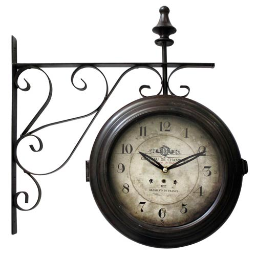 Brown and Tan 16-Inch Double Sided Wall Clock
