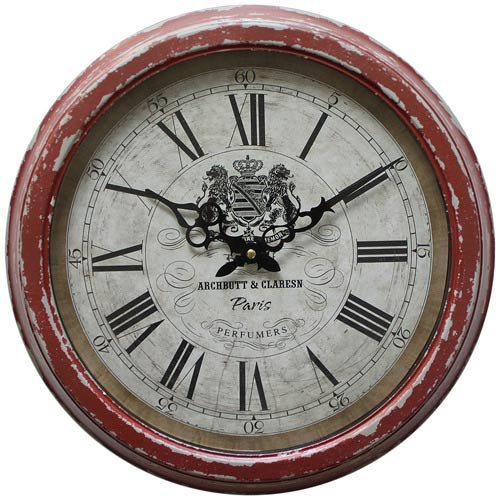 Red and Pink 16-Inch Wall Clock with Distressed Iron Frame
