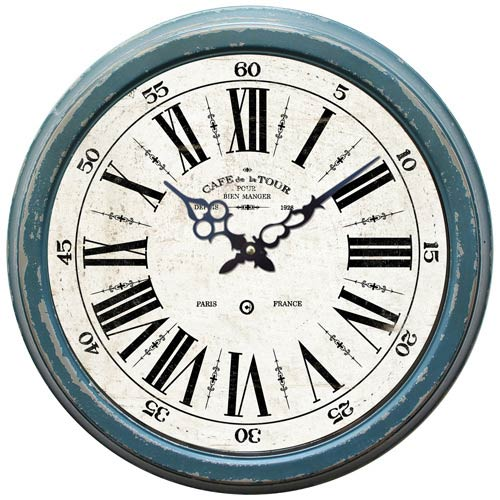 Blue 16-Inch Iron Wall Clock with Distressed Iron Frame