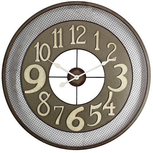 Dark Grey, Beige and White Iron Wall Clock