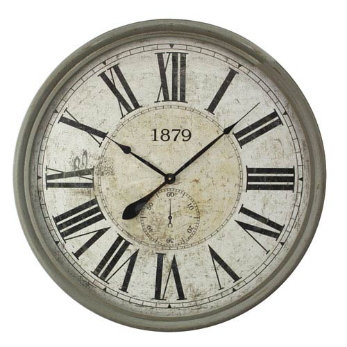 Gray and White Wall Clock