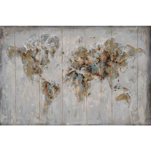 Map in Neutrals Wood Wall Art