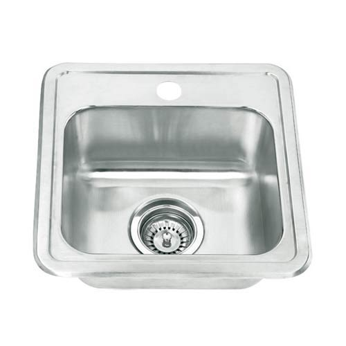 Stainless Steel 15-Inch Topmount Single Bowl Bar Sink