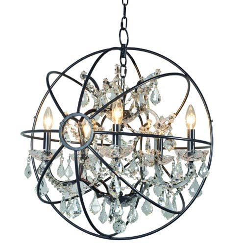 Five-Light Chandelier in Antique Black Finish with Smoke Crystals