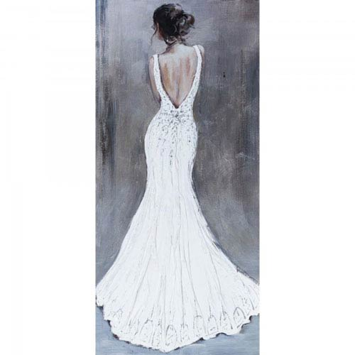 Woman in White: 59.1 x 27.6-Inch Acrylic Painting