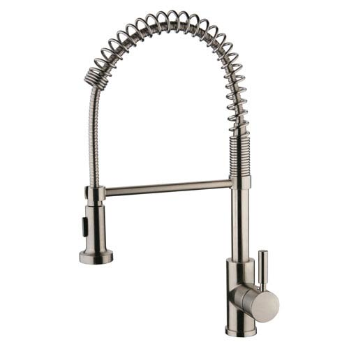 Yosemite Home Decor Spring Pull-Out Brushed Nickel Kitchen Faucet
