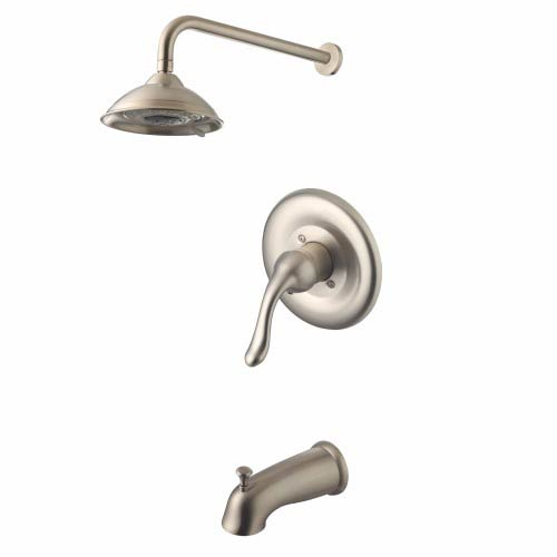 Brushed Nickel Low Lead Single Handle Tub and Shower Faucet