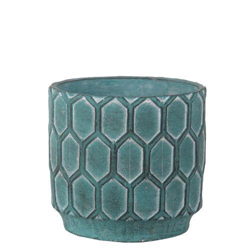 Antique Blue 7-Inch Cement Round Pot