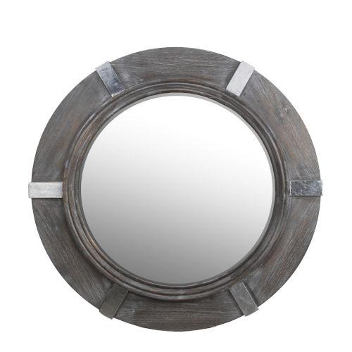 Gray Round Wall Mirror