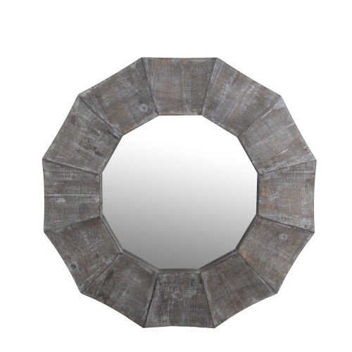 Gray 2-Inch Scalloped Edge Reclaimed Wall Mirror