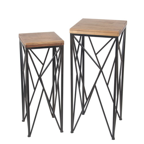 Privilege Block Top Plant Stands, Set of two
