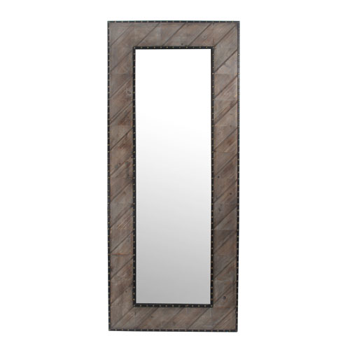 Wooden Rectangular Leaner Mirror with Nail Heads