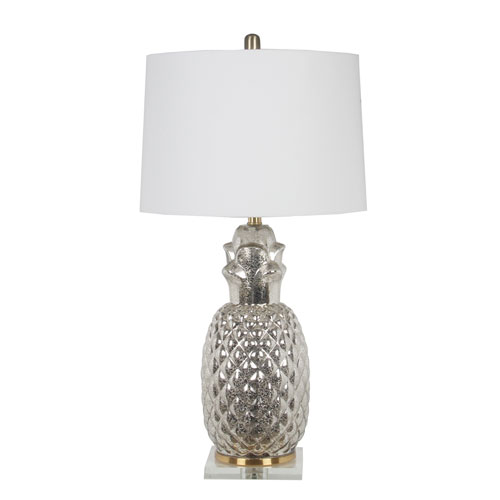 Silver Pineapple Glass Table Lamp