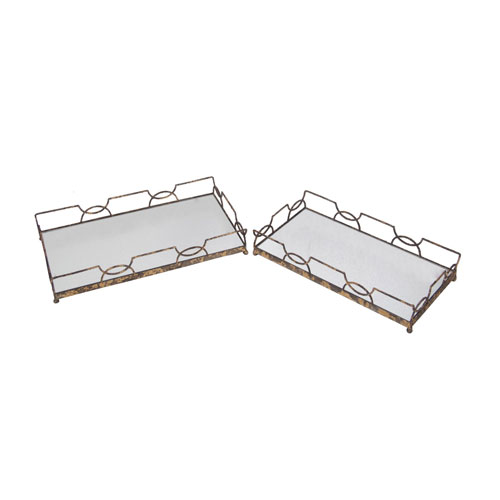 Gold Iron Rectangle Trays, Set of Two