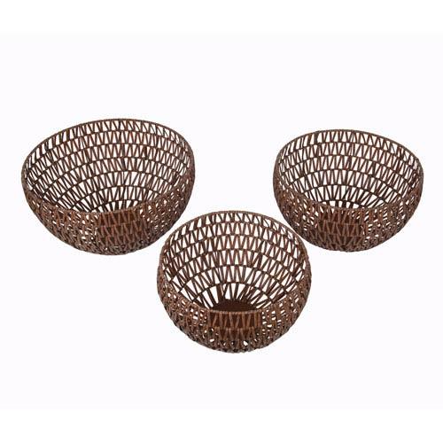 Brown Bowls, Set of Three