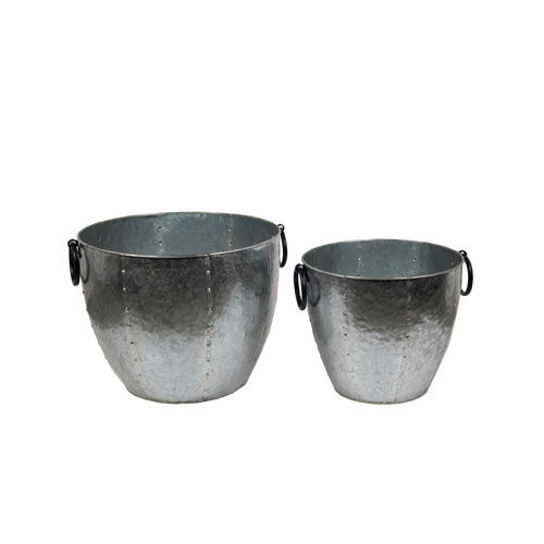 Galvanized Baskets, Set of Two