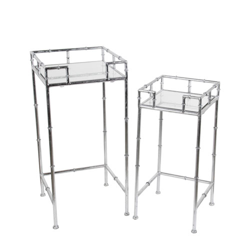 Silver Plant Stands, Set of Two