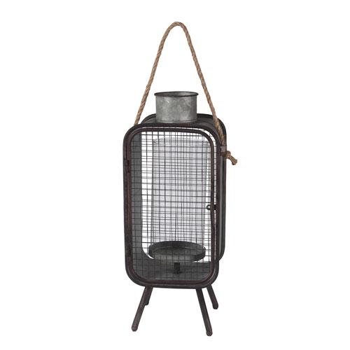 Privilege Dark Gray Mid Century Medium Iron Lantern