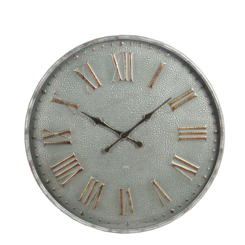 Metal Gray Wall Clock with Glass