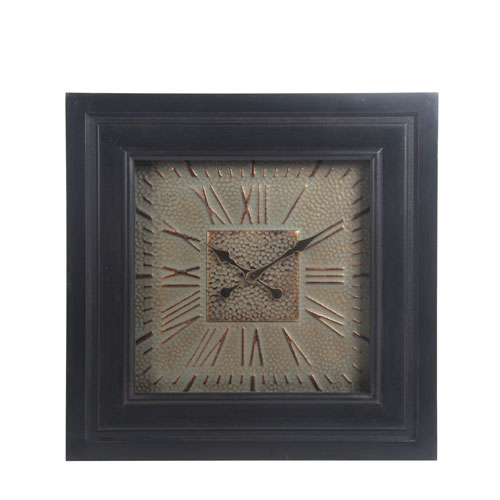 Wood and Metal Wall Clock with Glass