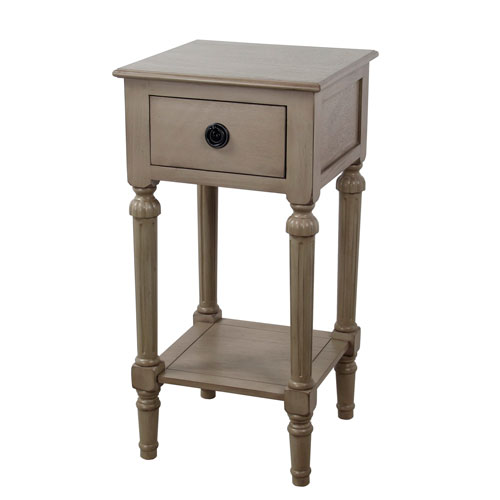 One-Drawer French Gray Accent Table