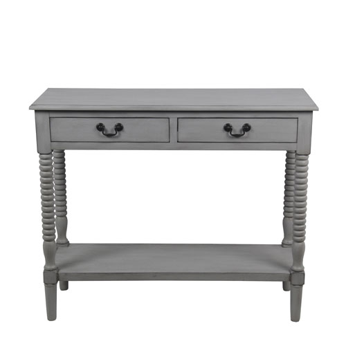 Privilege Dove Gray Console Table with Drawers