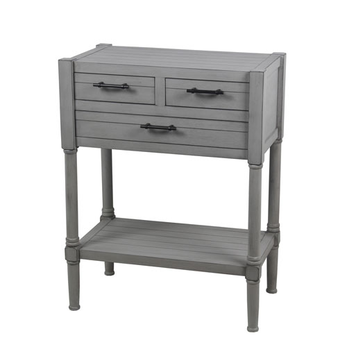 Dove Gray Three-Drawer Accent Table