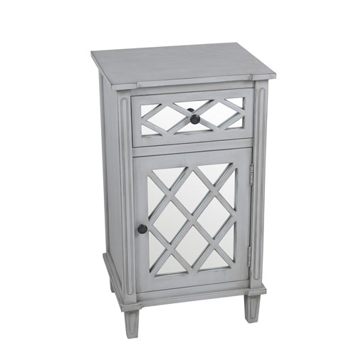 Smoke Ash Mirror Table with Drawer and Door