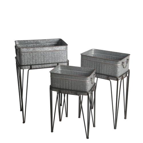 380f1dec3399 Galvanized Dark Gray Nest Stands, Set of Three