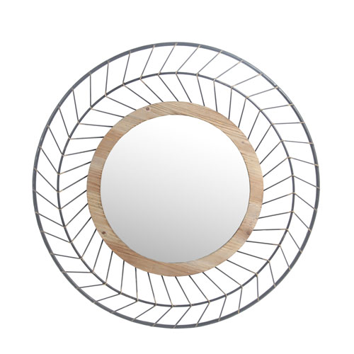 Iron and Wood Round Mirror