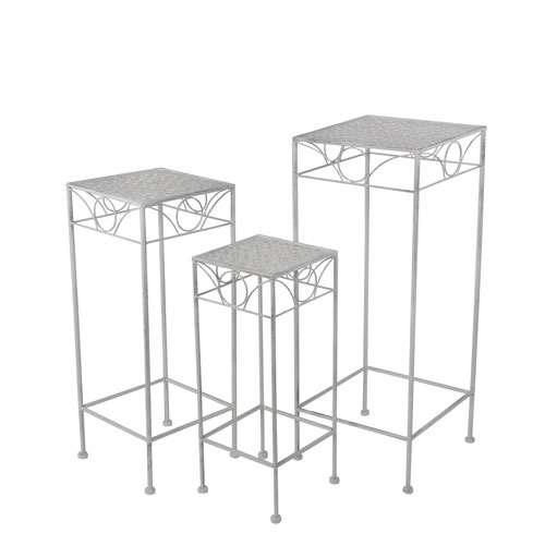 White Square Plant Stands, Set of Three