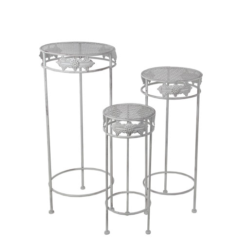 Silver Round Plant Stands, Set of Three