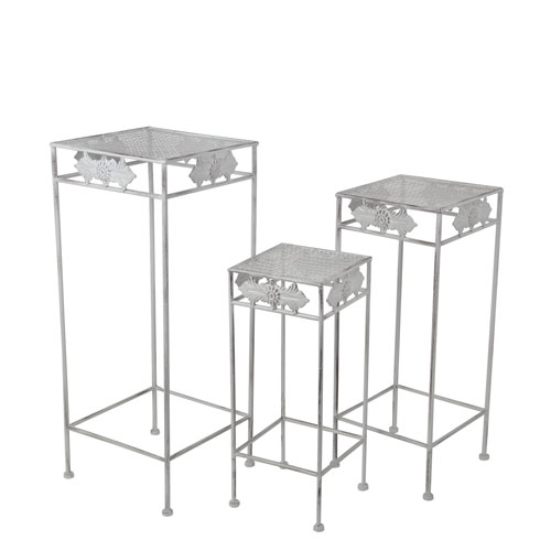 Silver Square Plant Stands, Set of Three