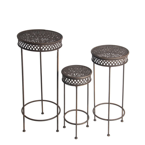 Dark Bronze Round Plant Stands, Set of Three