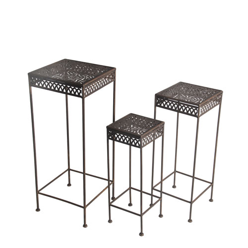 Dark Bronze Square Plant Stands, Set of Three