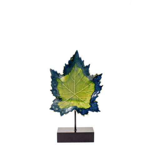 Green 21-Inch Ceramic Leaf on Wood Stand