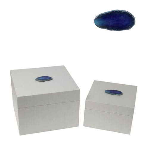 Agate Blue Square Box, Set of Two