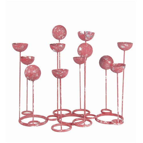 Red Multi-Shaped Candleholders on Stand