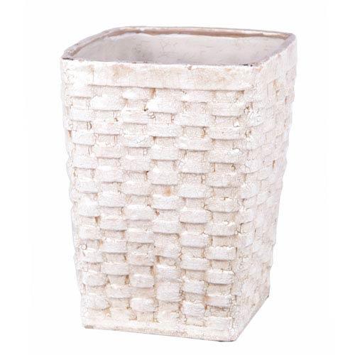Privilege Antique White Large Ceramic Weave Basket