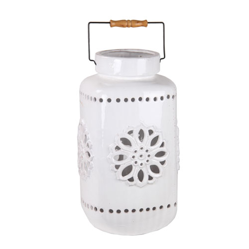 White Large Ceramic Lantern