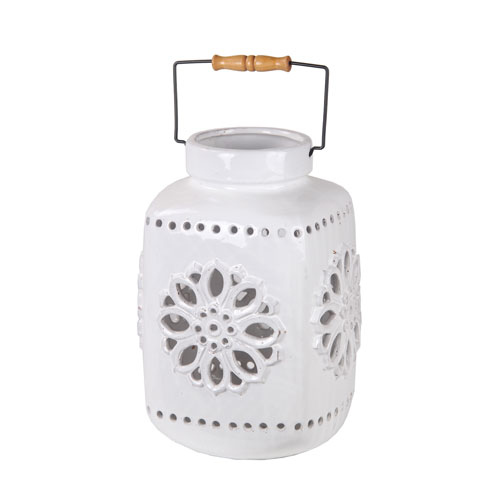 White Medium Ceramic Lantern