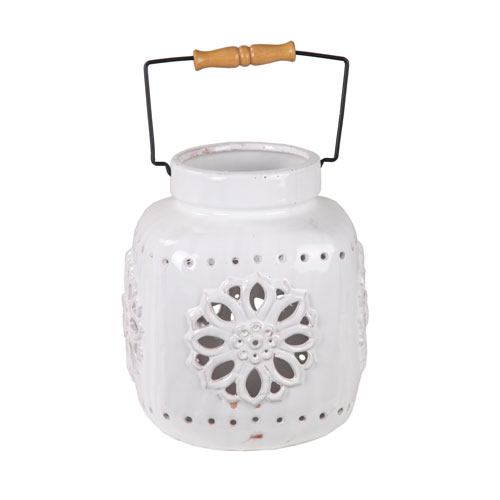 White Small Ceramic Lantern