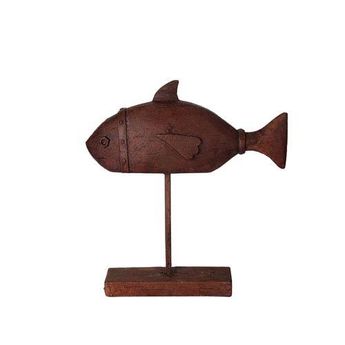 Brown Large Ceramic Fish Table Decor