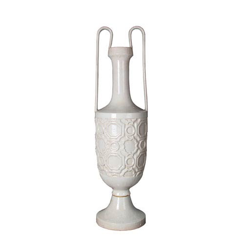 White Large Ceramic Vase with Handles