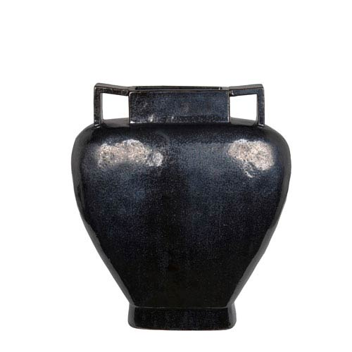Distressed Black Large Ceramic Vase