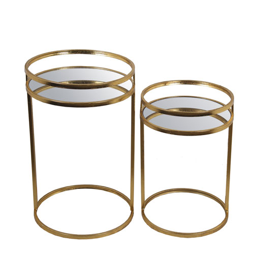 Privilege Gold Leaf Round Accent Tables, Set of Two