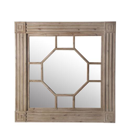 Privilege Carved Square Wood Mirror