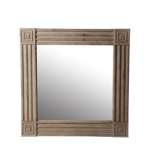Carved Square Wood Mirror