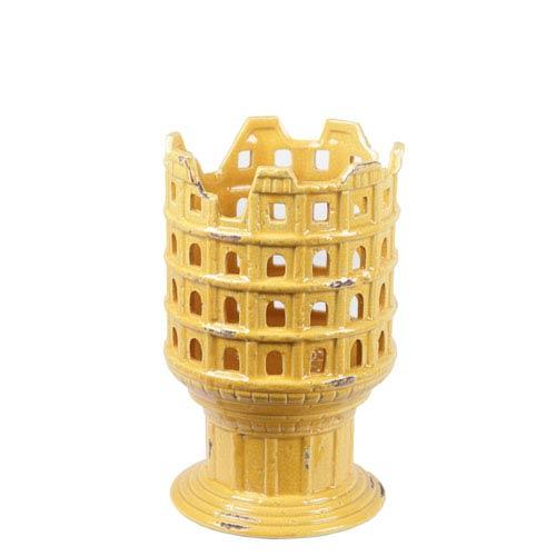 Yellow 12.5-Inch Tall Ceramic Vase