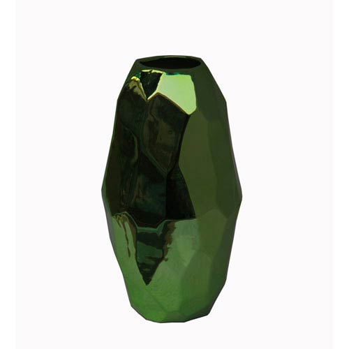 Metallic Green Small Ceramic Vase